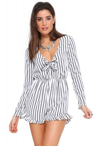 romper fashion fashion blogger stripes black and white cute beautiful bow jumpsuite