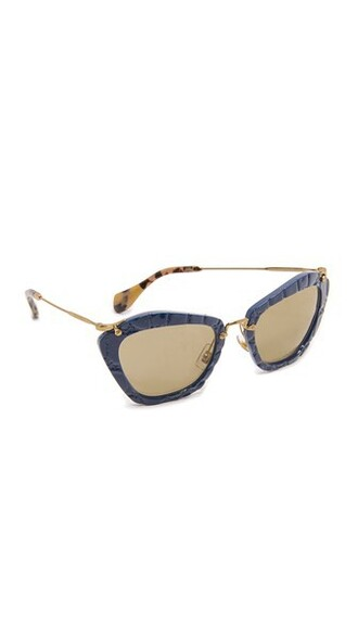 geometric sunglasses blue brown