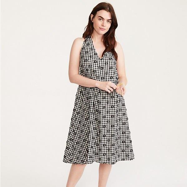 Floral Gingham Halter Dress
