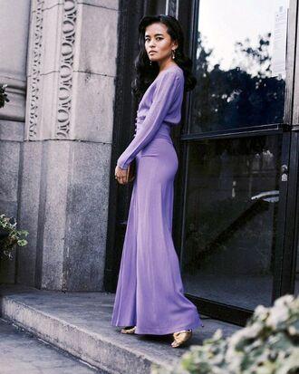 shoes gold bag purple dress dress long dress heels sandals bag lavender lavender dress metallic shoes