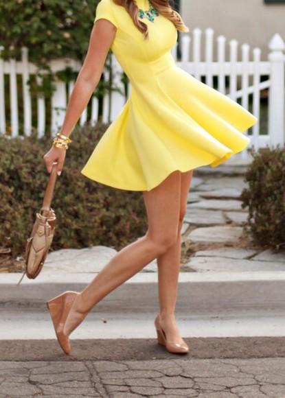 yellow yellow dress skater dress cute dress spring outfits summer outfits summer dress body