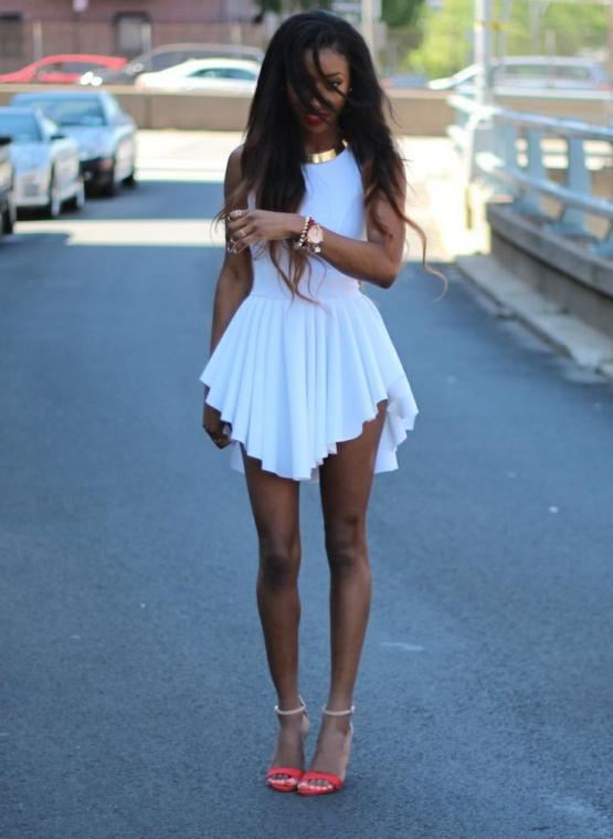 White sleeveless asymmetrical pleated dress