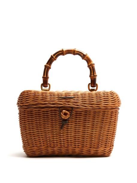 1f80dff6f GUCCI Cestino bamboo-handle wooden basket bag in beige / beige ...
