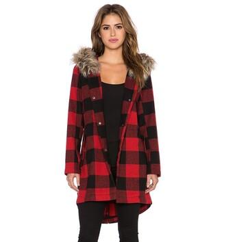 coat bb dakota fur revolve clothing revolve revolveme winter outfits winter coat plaid plaid coat red plaid fur hood faux fur