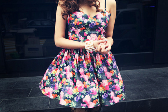 dress floral flowers floral dress black minidress