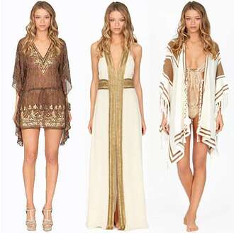 dress short dress brown loose sleeve flowy sleeve v neck pattern ethnic pattern egyptian pattern african pattern long dress ivory dress plunge v neck gold lining cardigan sweater white cardigan white and brown cardigan swimwear one piece swimsuit clothes