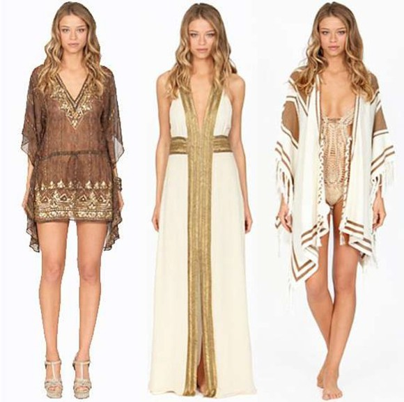 dress ivory dress short dress brown loose sleeve flowy sleeve v-neck pattern ethnic pattern egyptian pattern african pattern long dress deep v-neck gold lining cardigan sweater white cardigan white and brown cardigan one piece swimsuit clothes swimwear