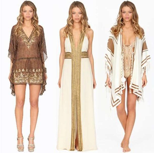 8490695d973e dress short dress brown loose sleeve flowy sleeve v neck pattern ethnic  pattern egyptian pattern african