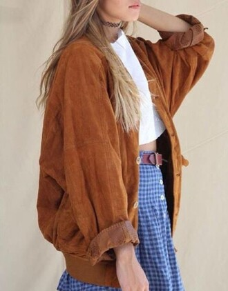 jacket leather jacket brown bomber jacket women women's coats woman outwear hipster retro nice winter jacket fall outfits spring vintage vintage jacket