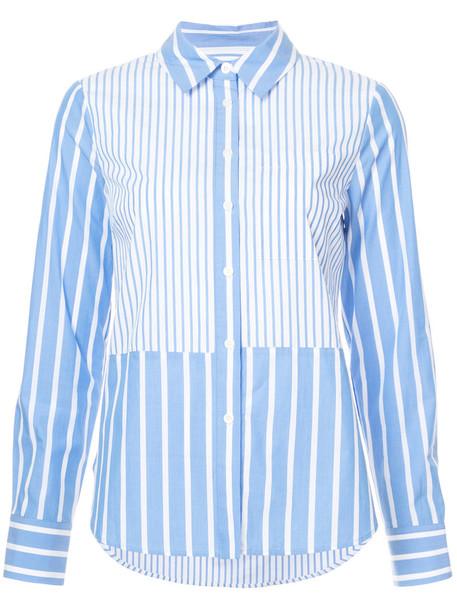 DEREK LAM 10 CROSBY shirt long ruffle women cotton blue top