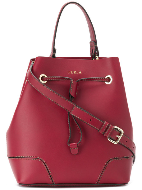 women drawstring leather red bag