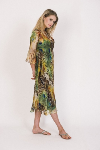 Dresses :: Pure Silk Peacock Print Caftan with black cotton underdress - Lorenz