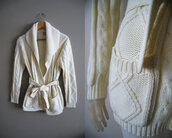 sweater,cable knit,bow,cardigan wrap