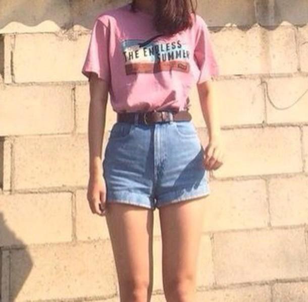 shirt pink shirt t-shirt the endless summer asos tumblr t-shirt dress tumblr outfit