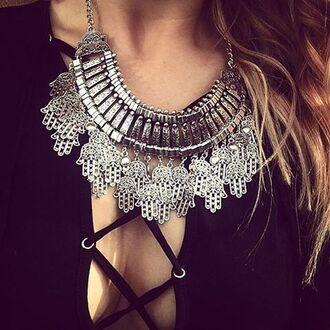 jewels cherry diva hamsa hamsa hand hamsa necklace necklace statement necklace silver necklace silver chunky necklace boho boho necklace boho jewelry bohemian bohemian jewelry jewelry