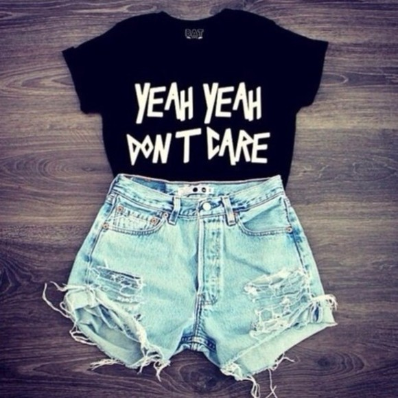 oversized black shorts cut offs summer t-shirt tshirts yeah yeah don't dare blouse