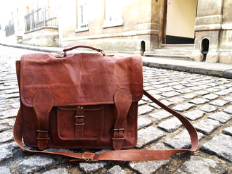 bag leather leather satchel leather bag tanned leather brown leather brown leather bag brown leather satchel vintage satchel vintage brown leather celebrity celebrity style buckles pockets handmade handmade bag ontrend