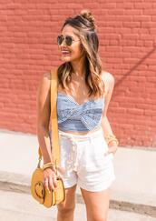 hauteofftherack,blogger,shorts,jacket,bag,top,shirt,dress,shoes,shoulder bag,yellow bag,bow top,white shorts,spring outfits