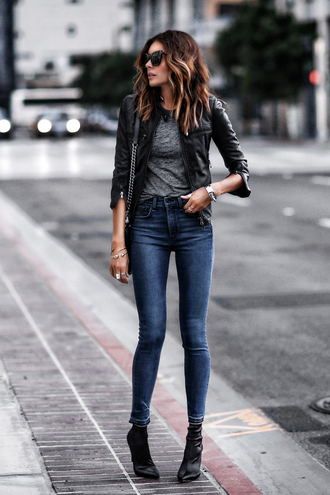 fashionedchic blogger top jeans jacket shoes ankle boots leather jacket skinny jeans grey top fall outfits