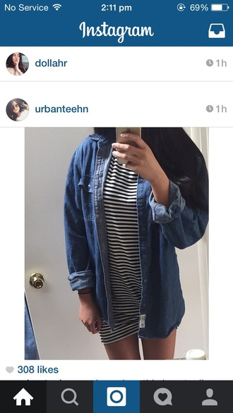 dress denim black white black and white love fashion tumblr instagram cool hot shopping summer tshirt dress denim jacket style striped dress stripes jacket