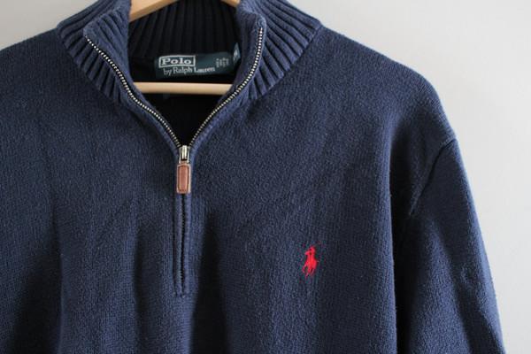 Ralph Lauren Sweater Henley Navy Blue Sweater Zip Up Plain Pullover