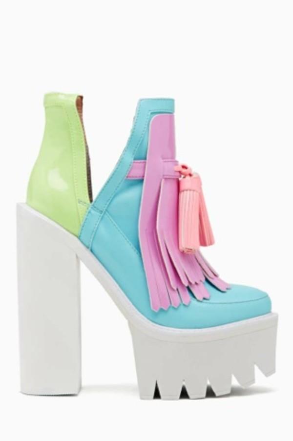 shoes pink high heels green heels jeffrey campbell nastygal platform shoes
