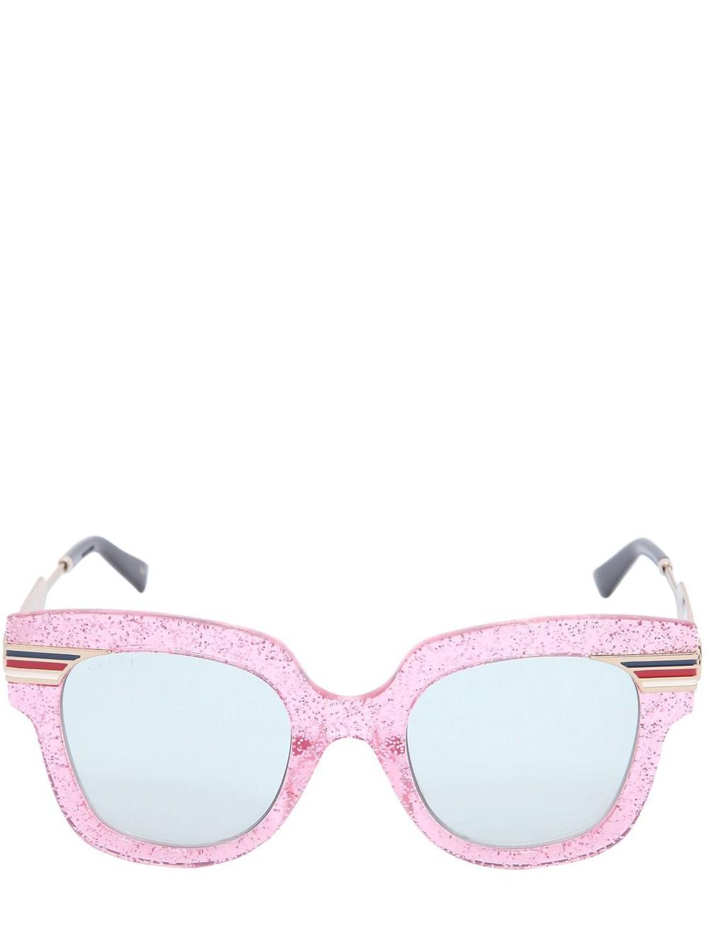 GUCCI Square Vintage Web & Glitter Sunglasses in pink