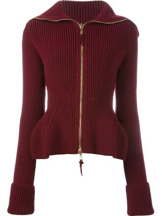 cardigan zip women wool red sweater
