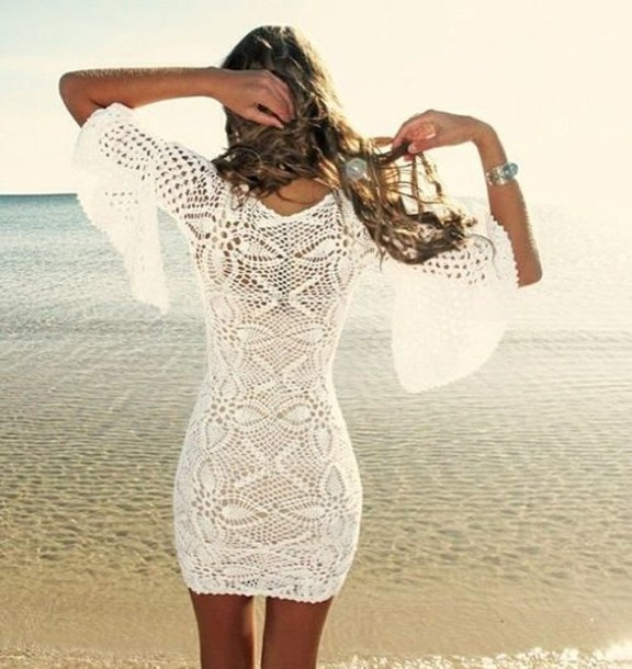 Crochet Clothing : dress crochet white beige summer outfits beach cover up crochet dress ...