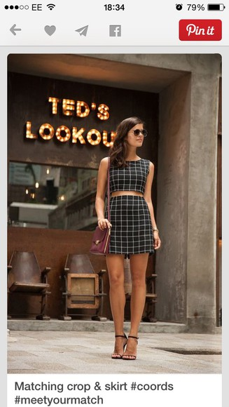 fashion geometric skort top