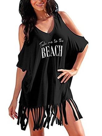 skirt black fringes beach t-shirt pool cover up chilling
