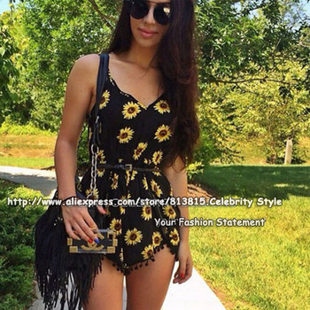 P88 celebrity style womens spagahetti strap sunflower print jumpsuits playsuits summer ladies rompers pants 2014 freeshipping