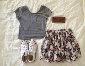 skirt dress converse flower cardigan bag