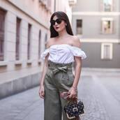 top,tumblr,off the shoulder,off the shoulder top,white top,pants,grey pants,bag,embellished,embellished bag