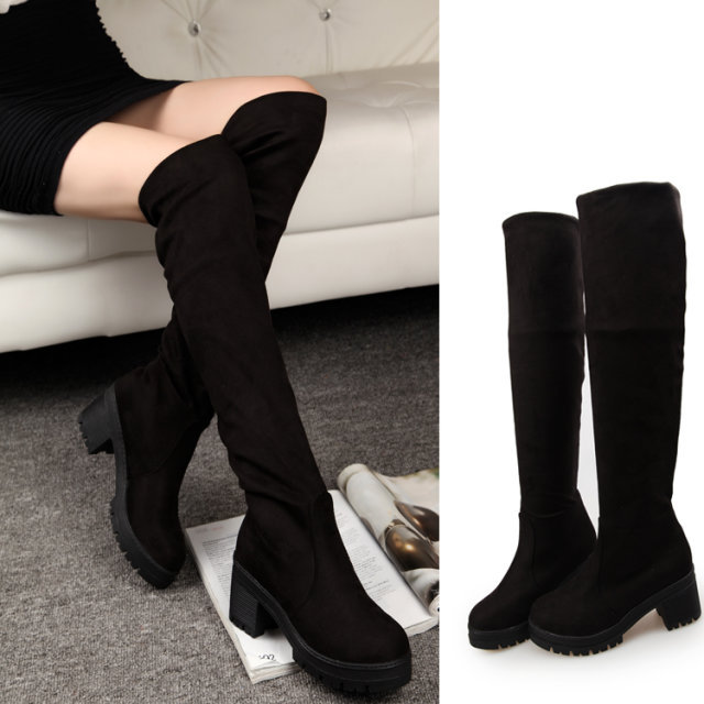 Platform Boots Faux Suede Chunky High Heels Black Over Knee Boots ...