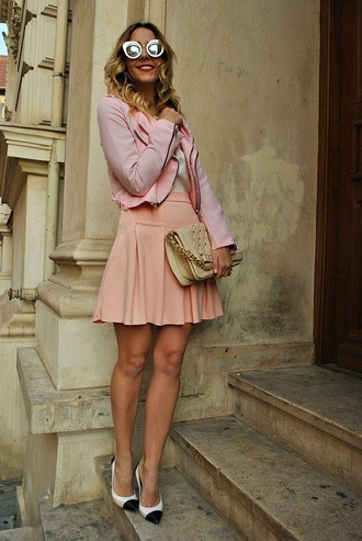 let's talk about fashion ! blogger sunglasses pink skirt pink jacket mirrored sunglasses jacket blouse skirt shoes