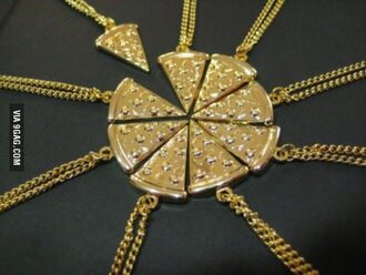 jewels necklace chain gold pizza pizza necklace friends group gift ideas bff