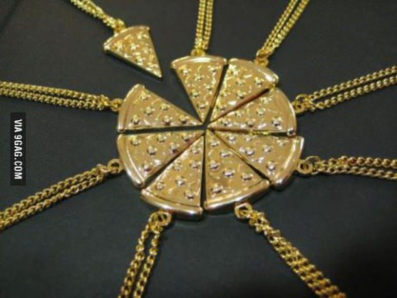 friends jewels necklace bff pizza gold chain pizza necklace group gift ideas
