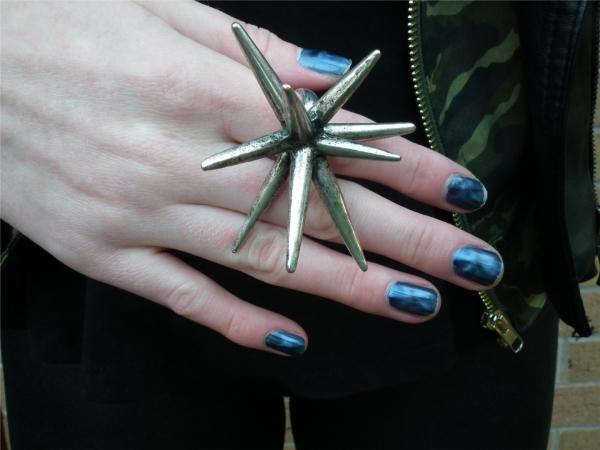 Vintage Punk Spike Embellished Ring - OASAP.com