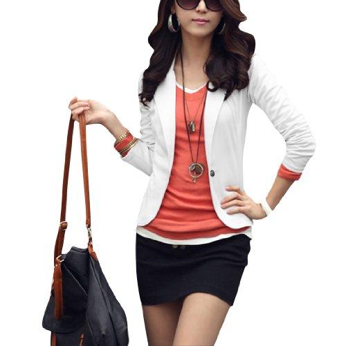 Allegra k ladies long sleeves one button leisure blazer white xs