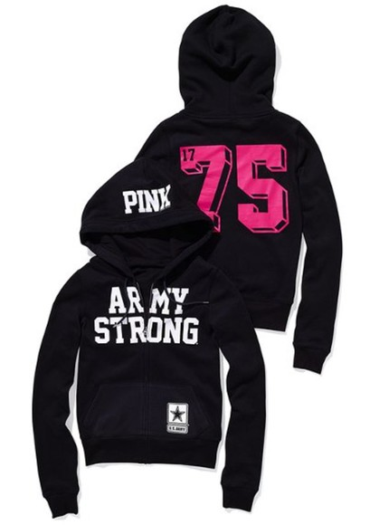 jacket zip-up army pink hoodie perfect victoria's secret army strong