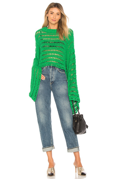 Free People top crochet top crochet green