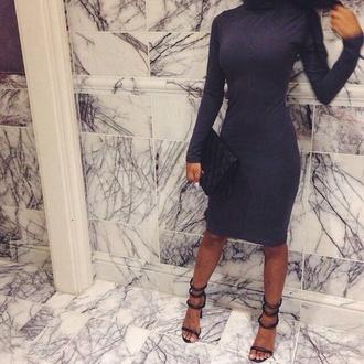dress shoes charcoal bodycon dress midi dress turtleneck dress sandals high heels black heels grey dress