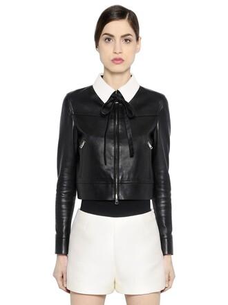 jacket leather jacket leather white black