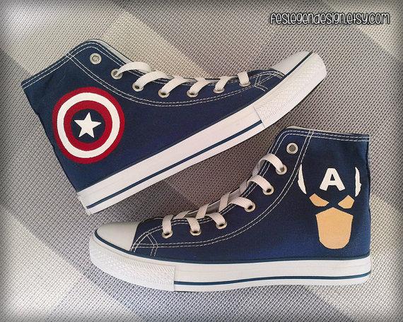 captain america converse shoes - 64