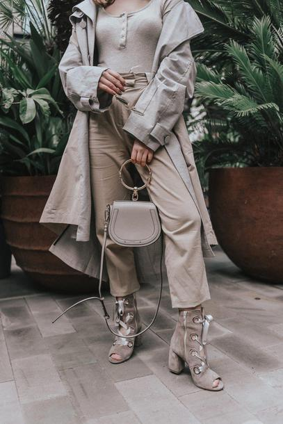 lolita mas blogger coat pants top shoes bag sunglasses trench coat beige pants ankle boots peep toe boots spring