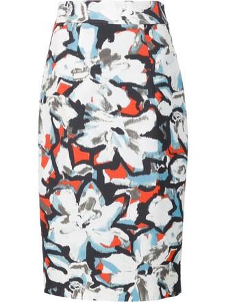 skirt pencil skirt women floral white cotton print
