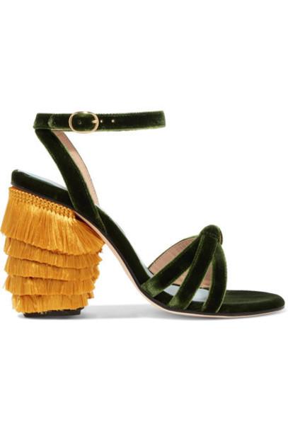 MR by Man Repeller velvet sandals dark sandals velvet green shoes
