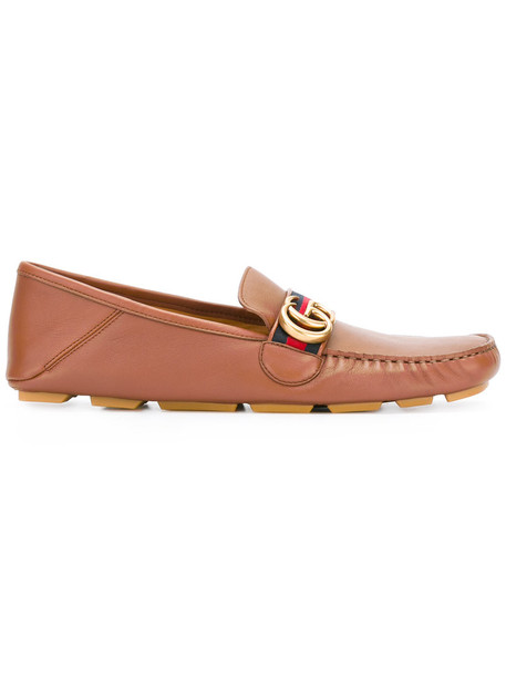gucci women loafers leather brown shoes