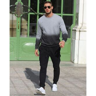 sweater maniere de voir sweatshirt jumper top dip dyed ombre grey black ripped philippe gazar menswear mens sweater grey sweater